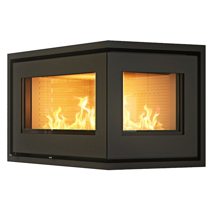 Rais 500/2 Wood Cassette Fire - Corner Black Right Side Glass - Black