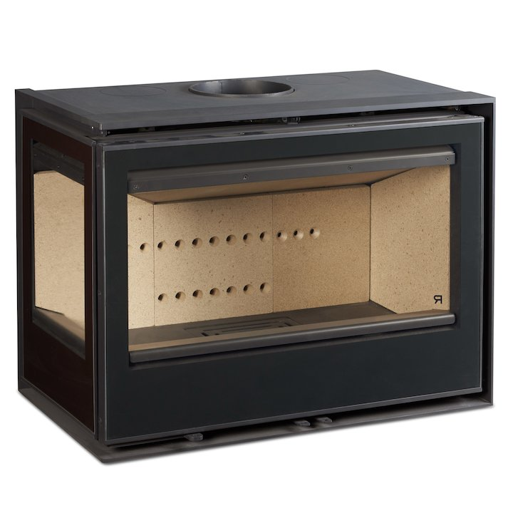 Rocal ARC 76 Wood Cassette Fire - Corner Black Glass Left Side Glass - Black Glass