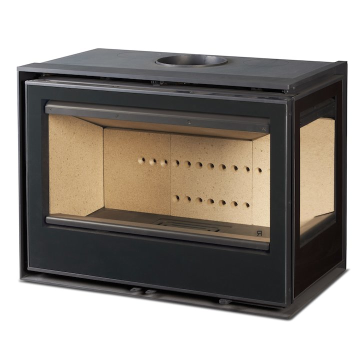 Rocal ARC 76 Wood Cassette Fire - Corner Black Glass Right Side Glass - Black Glass