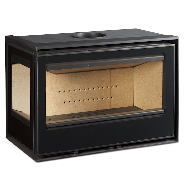 Rocal ARC 96 Wood Cassette Fire - Corner Black Glass Left Side Glass - Black Glass