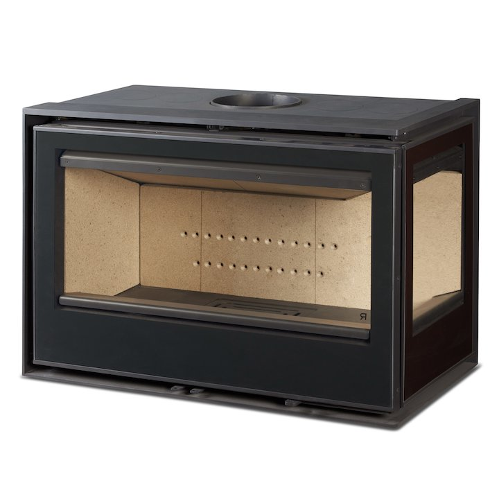 Rocal ARC 96 Wood Cassette Fire - Corner Black Glass Right Side Glass - Black Glass