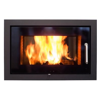 Rais 2:1 Built-In Wood Fire - Tunnel Black Black Glass Framed Door