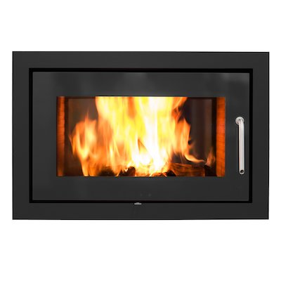 Rais 2:1 Built-In Wood Fire - Tunnel Black Metal Framed Door