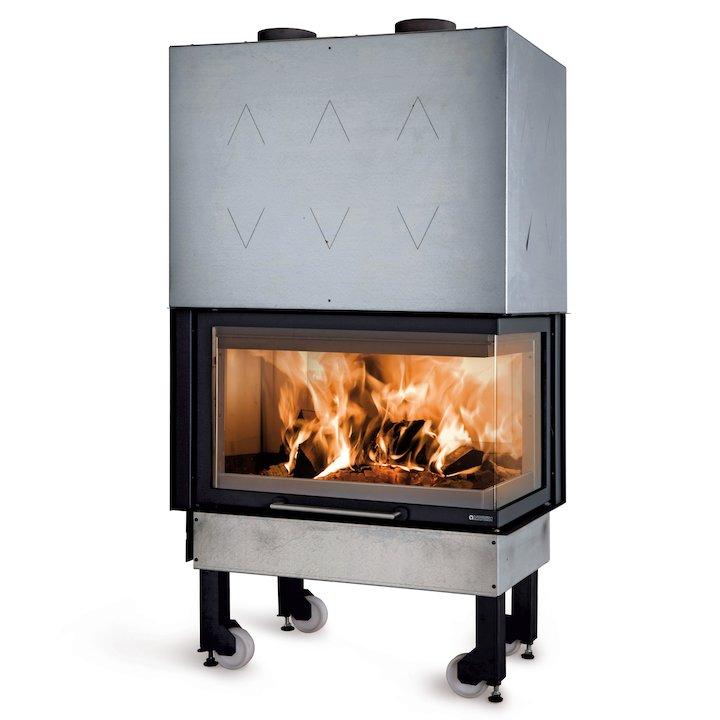 La Noridca Monoblocco Angolo 800 Built-In Wood Fire - Corner Black Right Side Glass - Black