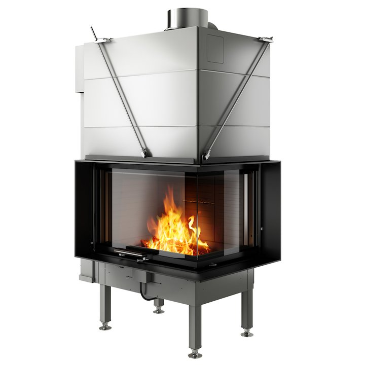 Rais Visio 2 Built-In Wood Fire - Corner Black Finishing Frame - Black