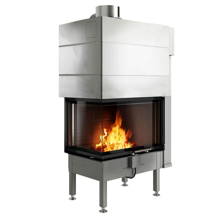Rais Visio 2 Built-In Wood Fire - Corner Black No Frame - Black