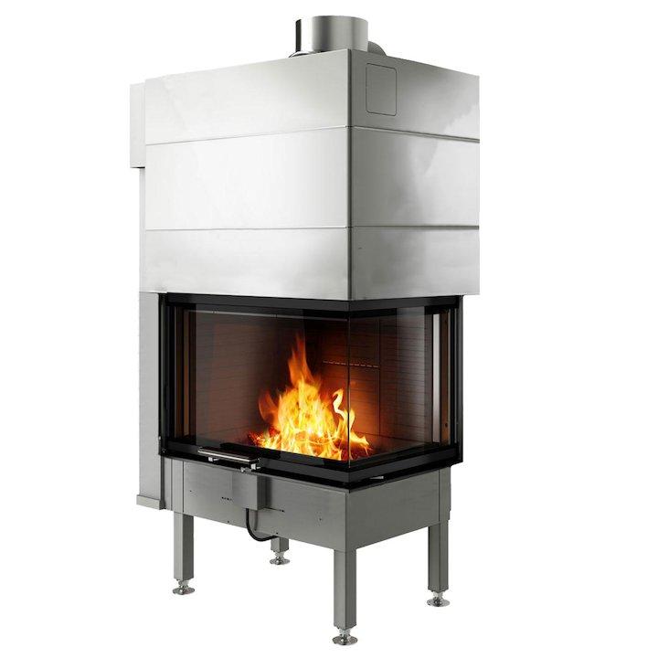 Rais Visio 2 Built-In Wood Fire - Corner Black No Frame - Black