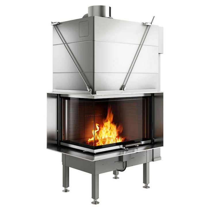 Rais Visio 2 Built-In Wood Fire - Corner Stainless Steel Finishing Frame - Stainless Steel