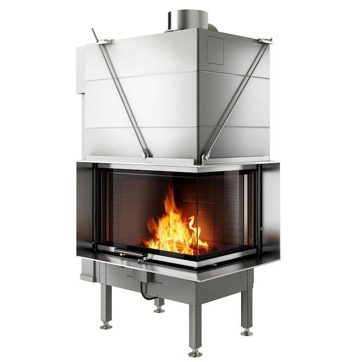 Rais Visio 2 Built-In Wood Fire - Corner Stainless Steel Finishing Frame - Stainless Steel