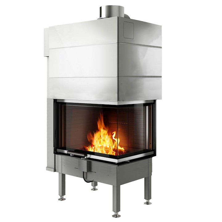 Rais Visio 2 Built-In Wood Fire - Corner Stainless Steel No Frame - Stainless Steel