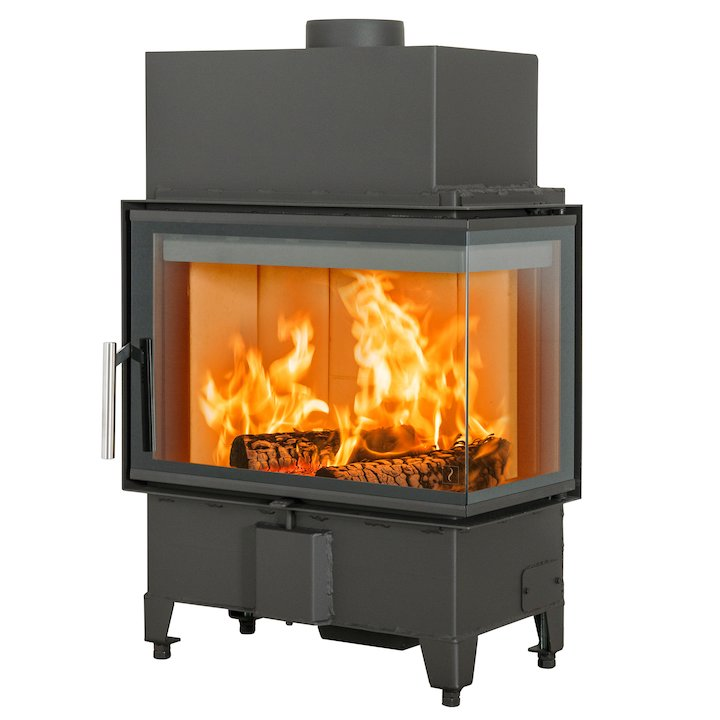 Scan 5003 Built-In Wood Fire - Corner Black Right Side Glass - Black