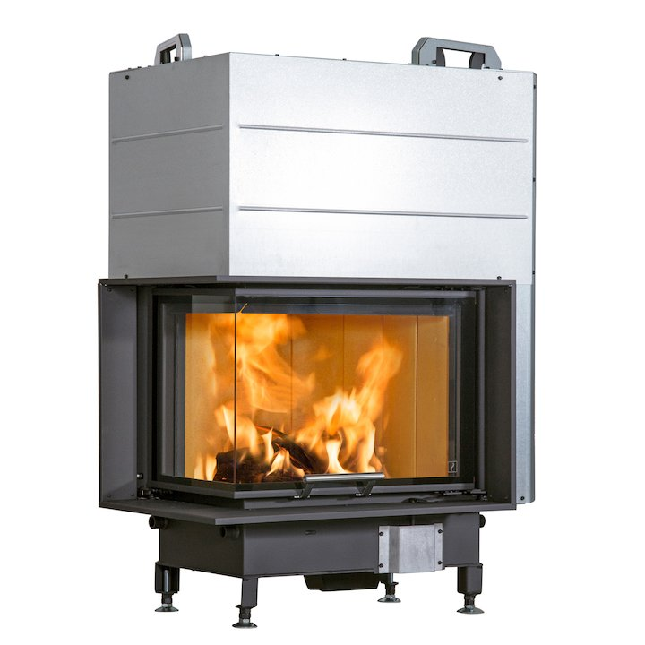Scan 5004 Built-In Wood Fire - Corner Black Left Side Glass - Black