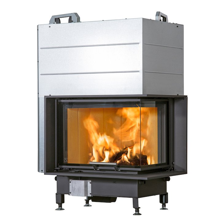 Scan 5004 Built-In Wood Fire - Corner Black Right Side Glass - Black