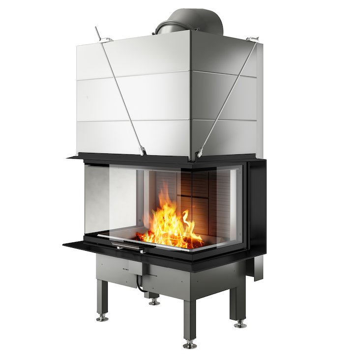 Rais Visio 3 Built-In Wood Fire - Three Sided Black Finishing Frame - Black