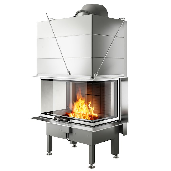 Rais Visio 3 Built-In Wood Fire - Three Sided Stainless Steel Finishing Frame - Stainless Steel