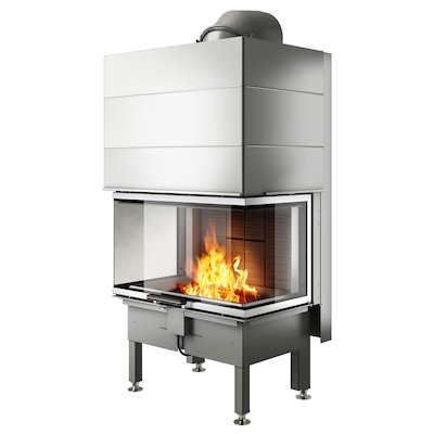 Rais Visio 3 Built-In Wood Fire - Three Sided Stainless Steel No Frame