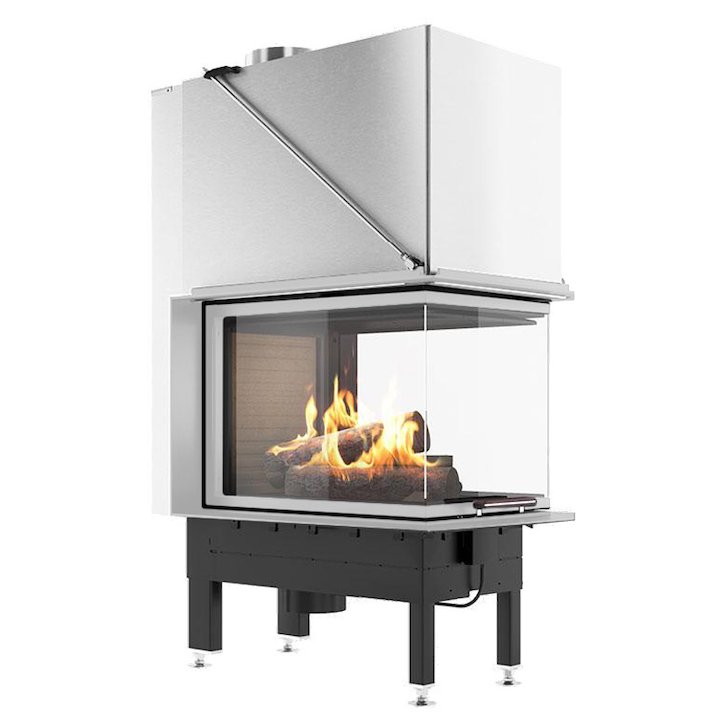 Rais Visio 3:1 Room Divider Wood Built-In Fire - Three Sided Stainless Steel Finishing Frame - Stainless Steel