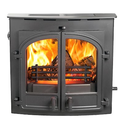 Hunter Telford 20B Multifuel Inset Boiler Stove Black Double Doors