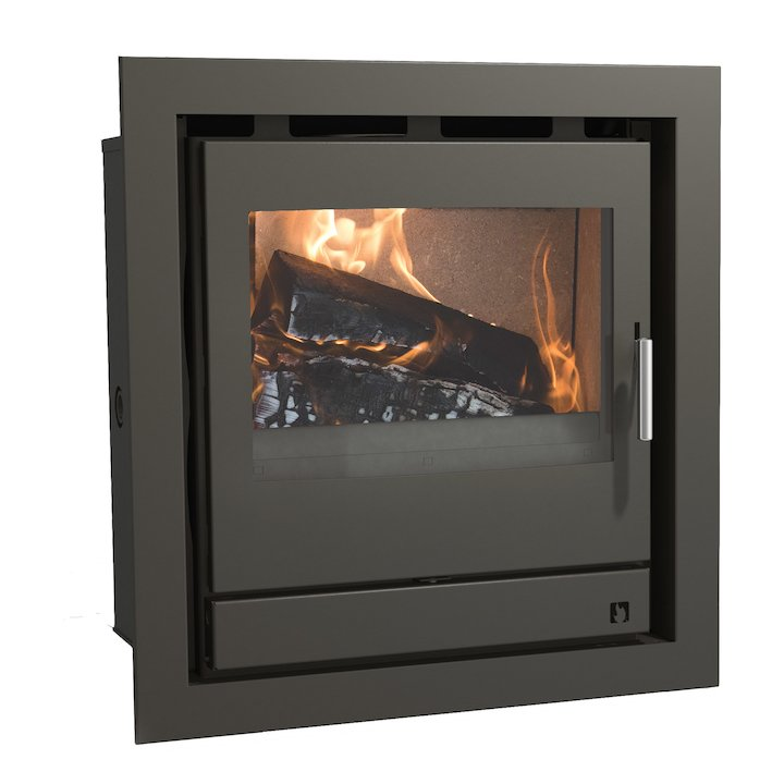 Arada Ecoboiler 12 HE Multifuel Cassette Boiler Fire - Frontal Midnight Black Four Sided Frame - Midnight Black