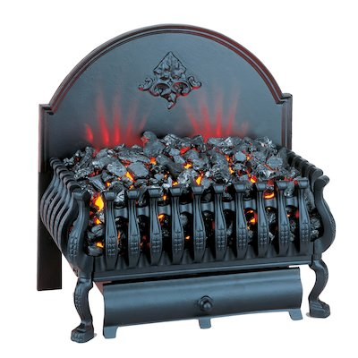 Burley Cottesmore Electric Firebasket Black With Plain Fireback