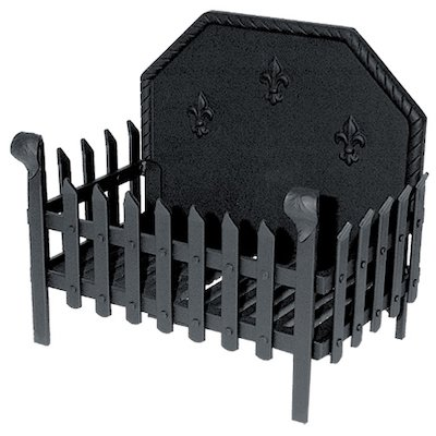 Calfire Portcullis Standard Solid Fuel Firebasket Black With Fleur-de-lys Fireback