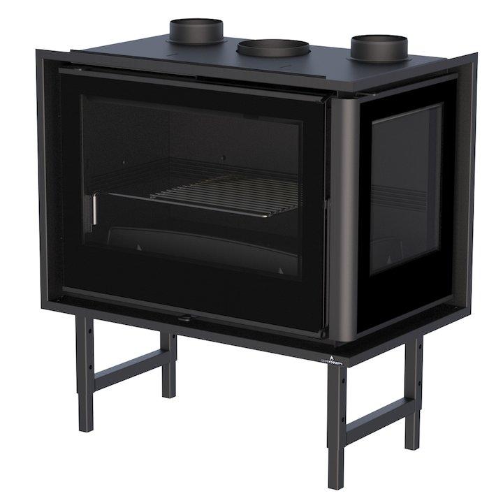 Bronpi Paris 70-E Wood Cassette Fire - Corner - Black Glass