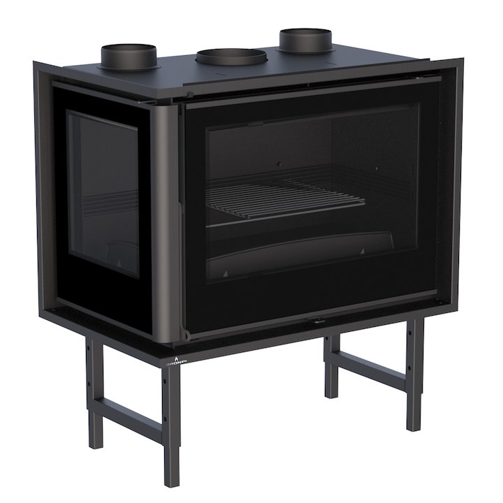 Bronpi Paris 70-E Wood Cassette Fire - Corner - Black Glass