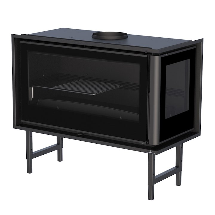 Bronpi Paris 90-E Wood Cassette Fire - Corner - Black Glass
