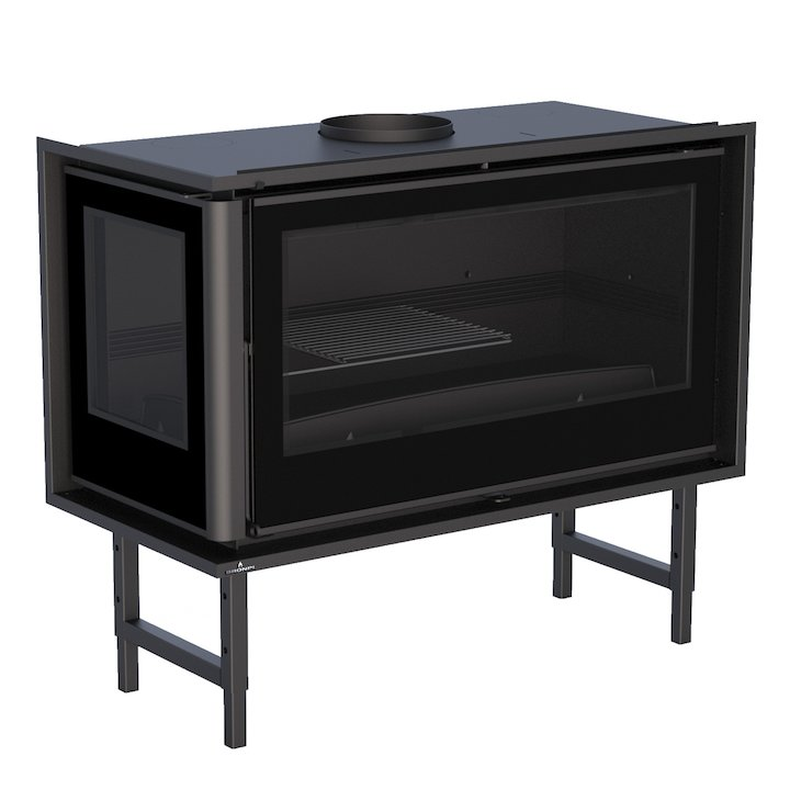 Bronpi Paris 90-E Wood Cassette Fire - Corner - Black Glass