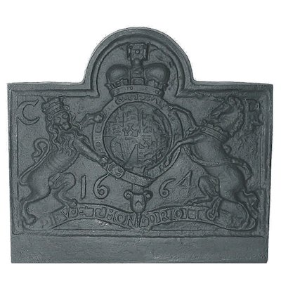 Calfire Lion & Unicorn Small Cast-Iron Fire Back Plate