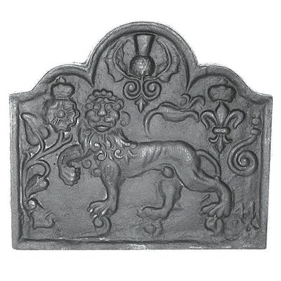 Calfire Laughing Lion Cast-Iron Fire Back Plate