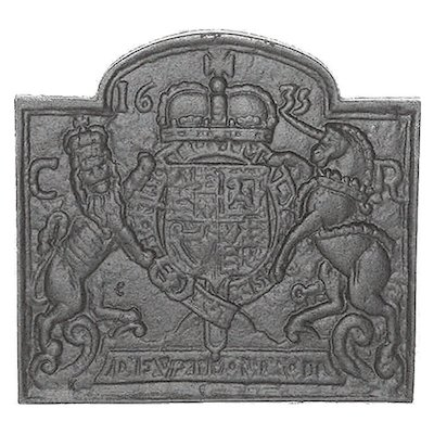 Calfire Coat of Arms 1635 Cast-Iron Fire Back Plate