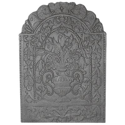 Calfire Flowers Large Cast-Iron Fire Back Plate