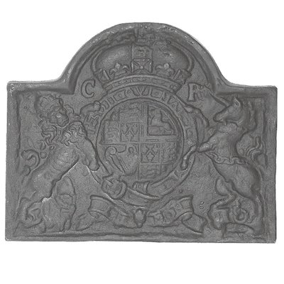Calfire Lion & Unicorn Large Cast-Iron Fire Back Plate