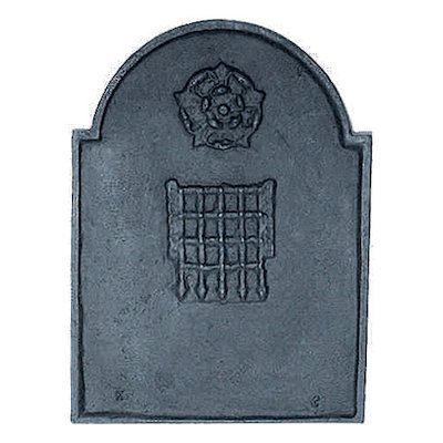 Calfire Rose & Portcullis Cast-Iron Fire Back Plate