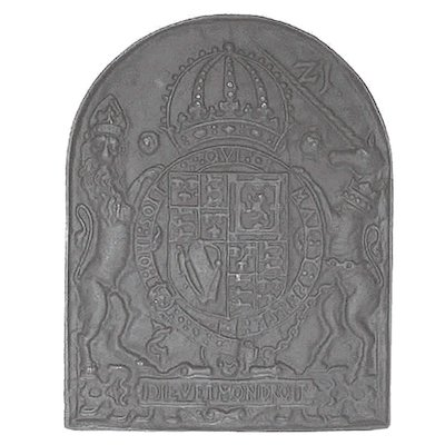 Calfire Royal Coat or Arms Cast-Iron Fire Back Plate