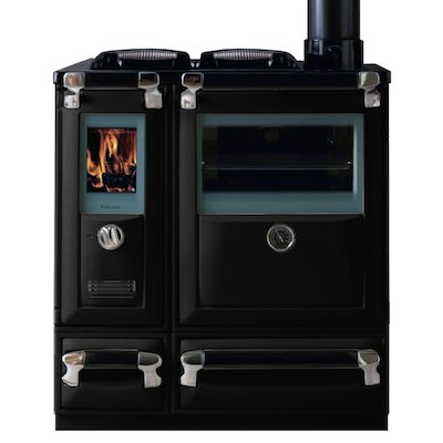 Lacunza Vulcano 5T Wood Burning Range Cooker Enamel Black Cast Cooking Top