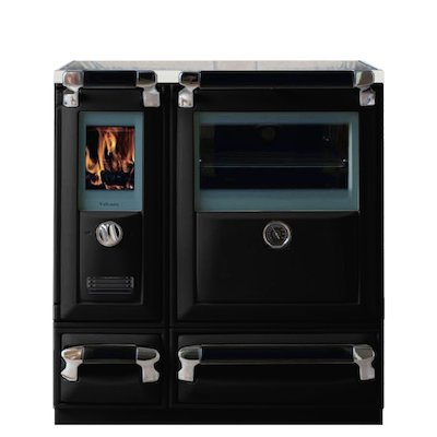 Lacunza Vulcano 5T Wood Burning Range Cooker Enamel Black Glass Cooking Top