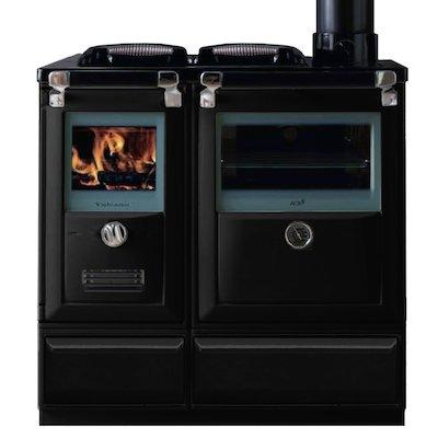 Lacunza Vulcano 7T Wood Burning Range Cooker Enamel Black Cast Cooking Top