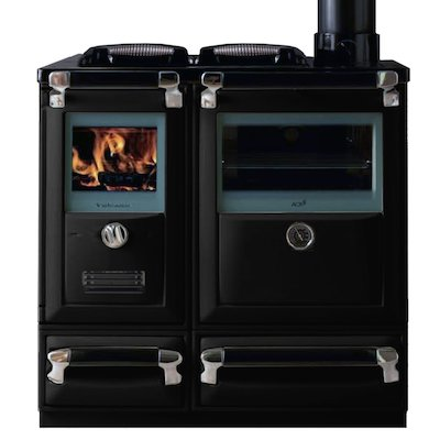 Lacunza Vulcano 7T Wood Burning Range Cooker Enamel Black Cast Cooking Top