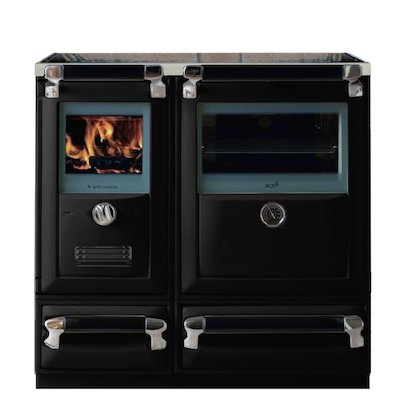 Lacunza Vulcano 7T Wood Burning Range Cooker Enamel Black Glass Cooking Top