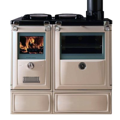 Lacunza Vulcano 7T Wood Burning Range Cooker Enamel Ivory Cast Cooking Top