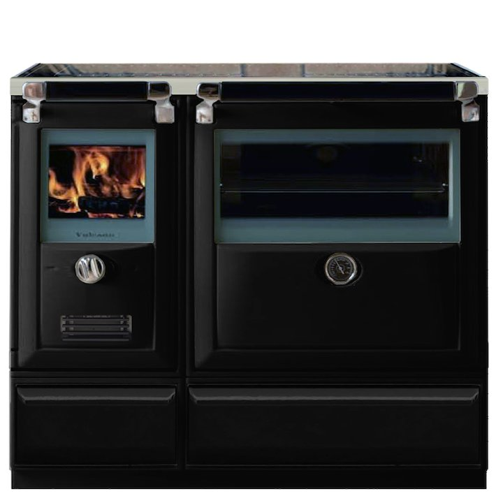 Lacunza Vulcano 8T Wood Burning Range Cooker Enamel Black Plinth Base - Enamel Black