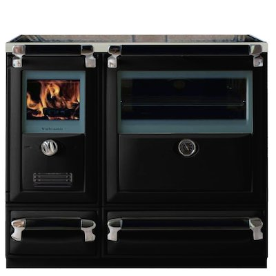 Lacunza Vulcano 8T Wood Burning Range Cooker Enamel Black Storage Draw Base