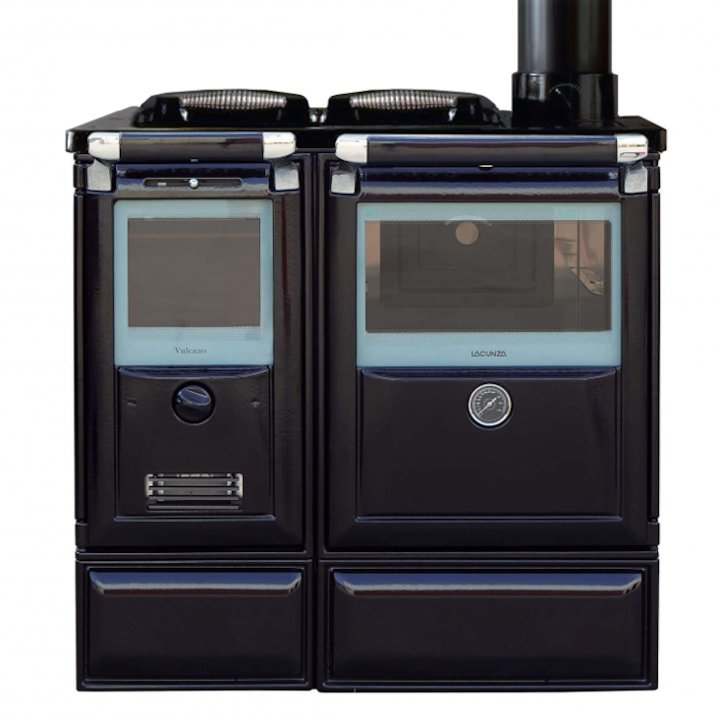 Lacunza Vulcano 7TE3 Wood Burning Boiler Range Cooker Enamel Black Cast Cooking Top - Enamel Black