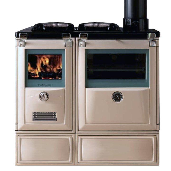 Lacunza Vulcano 7TE3 Wood Burning Boiler Range Cooker Enamel Ivory Cast Cooking Top - Enamel Ivory