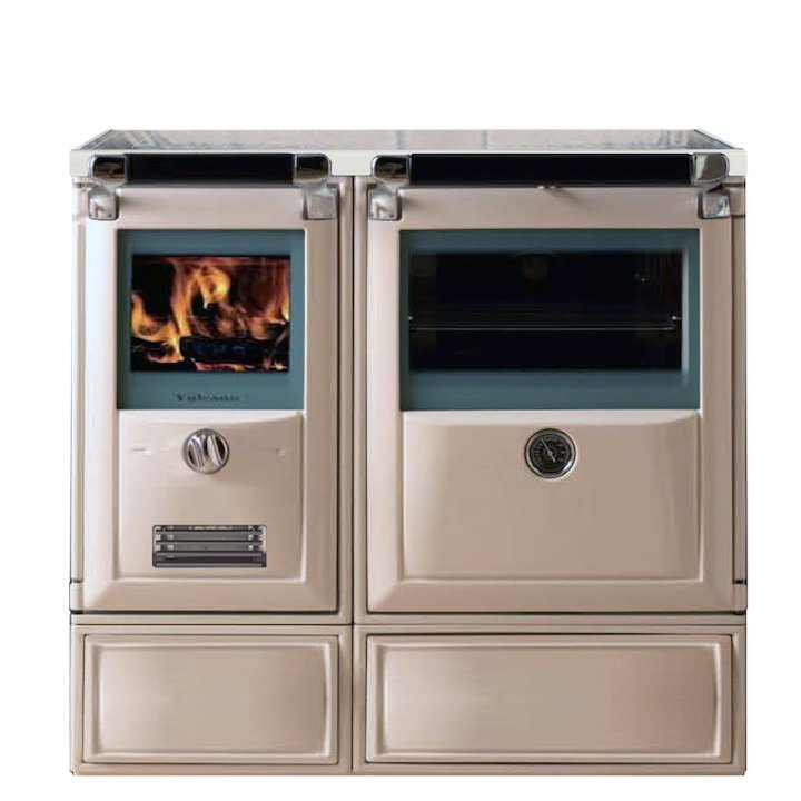 Lacunza Vulcano 7TE3 Wood Burning Boiler Range Cooker Enamel Ivory Glass Cooking Top - Enamel Ivory