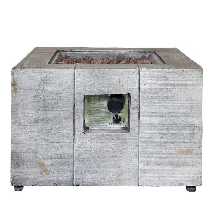 La Hacienda Daytona Outdoor Gas Firepit - Washed Grey Wood Effect