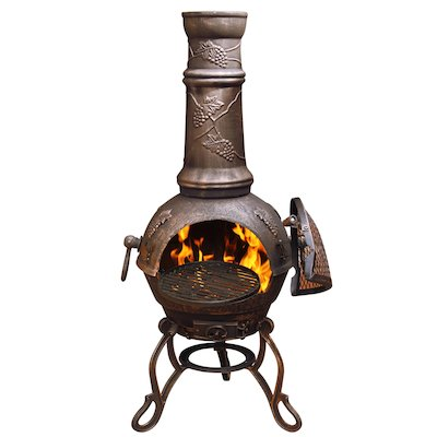 Gardeco Toledo Grapes Large Cast-Iron Chiminea