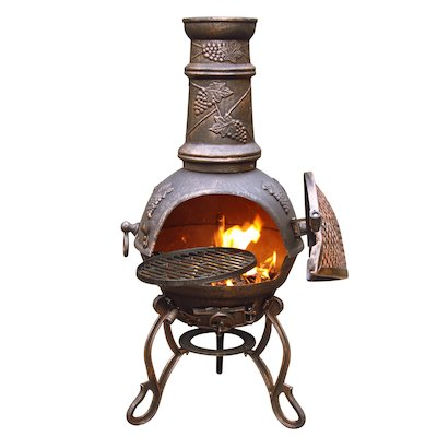 Gardeco Toledo Grapes Medium Cast-Iron Chiminea